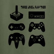 Joystick Three Lives video game Graphic Tee Shirt green