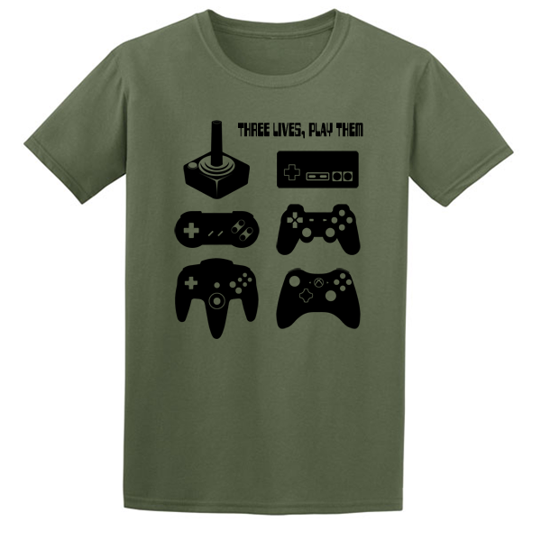 Buy Joystick Three Lives video game Graphic Tee Shirt green
