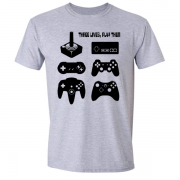 Joystick Three Lives video game Graphic Tee Shirt grey
