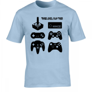 Joystick Three Lives video game Graphic Tee Shirt light blue
