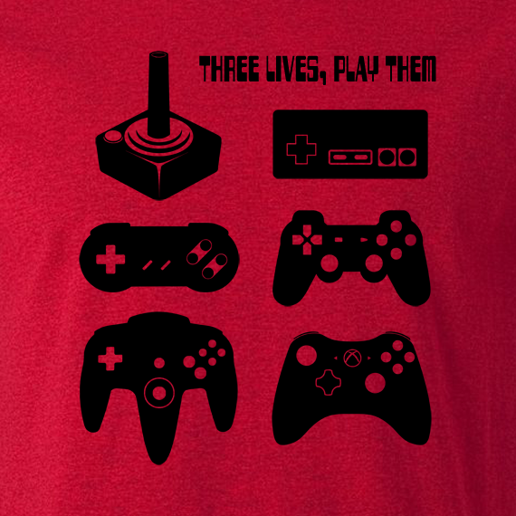 Buy Joystick Three Lives video game Graphic Tee Shirt red