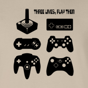 Joystick Three Lives video game Graphic Tee Shirt sand