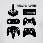 Joystick Three Lives video game Graphic Tee Shirt white