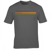 Edify Retro Stripe 70s Graphic charcoal Tee Shirt