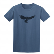 Buzzard Bird Silhouette Graphic Indigo Blue Tee Shirt