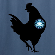 Iron Chicken Super Hero Graphic Sport Indigo Blue Tee Shirt