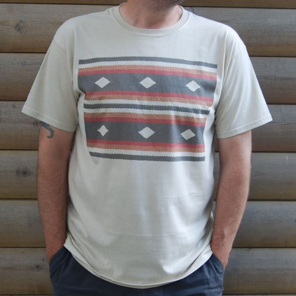 Buy 1970s Retro Rug Design Sand Tee Shirt