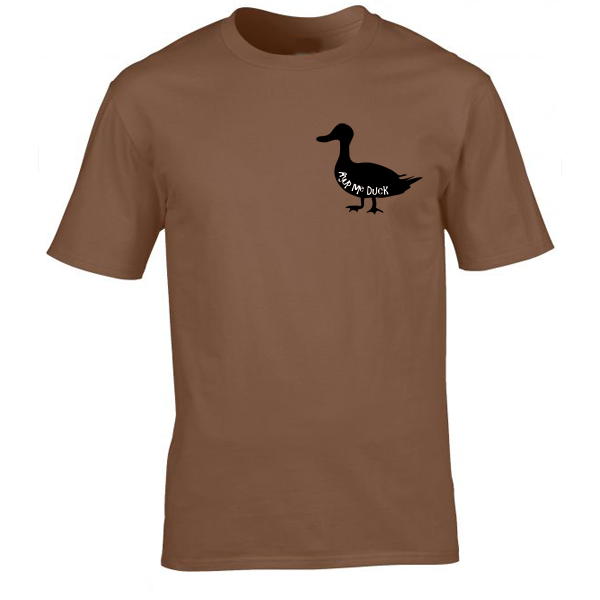 Buy Ayup Me Duck Silhouette Cartoon Graphic Brown Tee Shirt