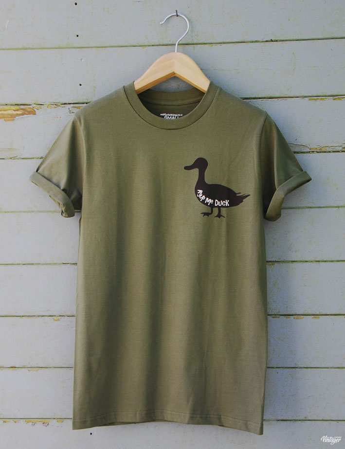 Buy Ayup Me Duck Sillhouette Cartoon Graphic Green Tee Shirt