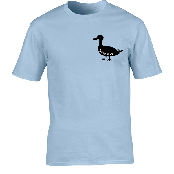 Buy Ayup Me Duck Silhouette Cartoon Graphic Light Blue Tee Shirt