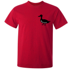 Buy Ayup Me Duck Silhouette Cartoon Graphic Red Tee Shirt