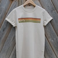 Buy Edify Retro Stripe 70s Graphic Sand Tee Shirt Hanger