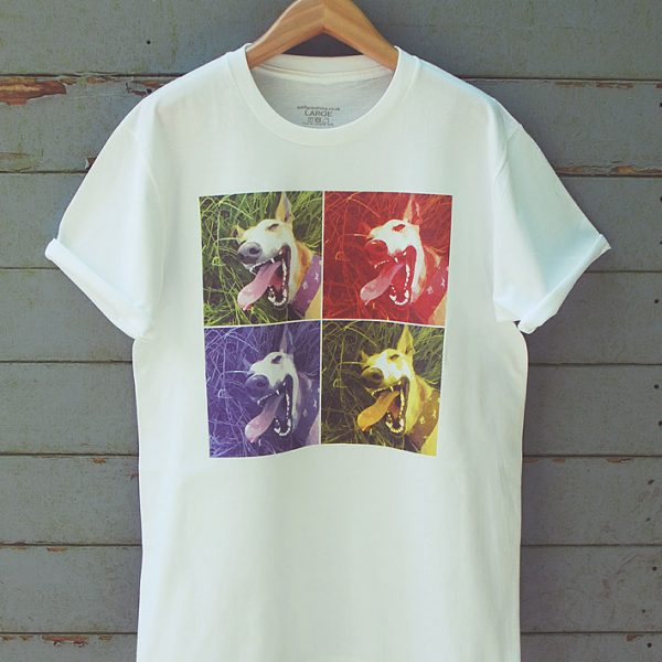 Buy Lurcher Whippet Greyhound Pop Art Graphic Tee-Shirt White