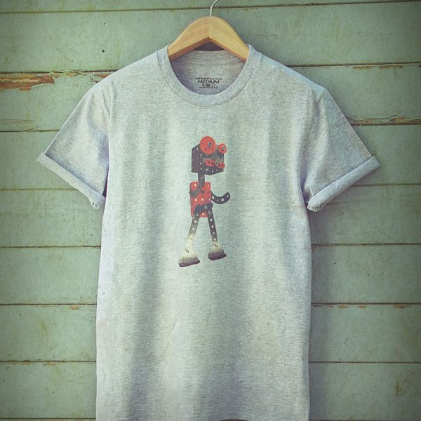 Buy Robot Retro 1950s Graphic Sport Grey Tee Shirt