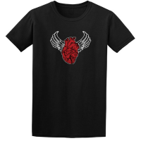 Buy Sacred Heart Angel Wings Tattoo Indigo Black Tee Shirt