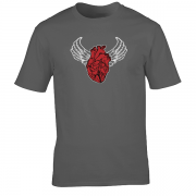 Sacred Heart Angel Wings Tattoo Indigo Charcoal Tee Shirt
