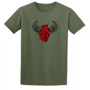 Sacred Heart Angel Wings Tattoo Indigo Green Tee Shirt
