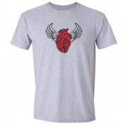 Sacred Heart Angel Wings Tattoo Indigo Grey Tee Shirt