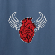 Sacred Heart Angel Wings Tattoo Indigo Blue Tee Shirt