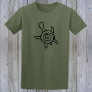Sea Turtle Honu Tiki Surfer Graphic Green Tee Shirt