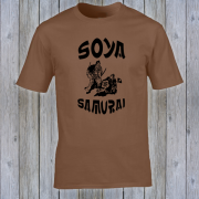 Soya Samurai Vegan Vegetarian Oriental Japan Weeb Brown Graphic T Shirt