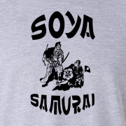 Soya Samurai Vegan Vegetarian Oriental Japan Weeb Sport Grey Graphic T Shirt