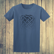 Celtic Square Tribal tattoo Graphic Indigo Blue Tee Shirt