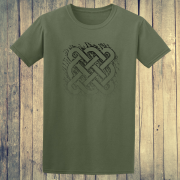Celtic Square Tribal tattoo Graphic Green Tee Shirt