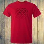 Celtic Square Tribal tattoo Graphic Red Tee Shirt