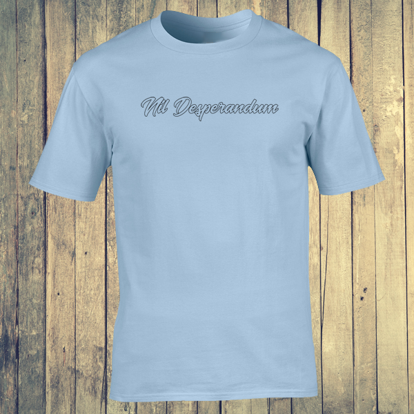 Nil Desperandum No Despair No Worries Alternative Street Wear Light Blue Graphic Tee Shirt