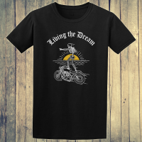 Buy Classic Motorcycle Surfer 1950s Graphic Black Tee Shirt