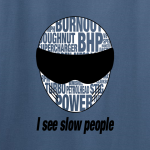 Buy Slow People Stig Petrol Head Power Graphic Indigo Blue Tee Shirt