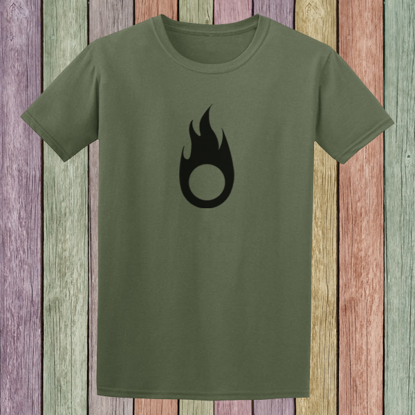 Buy Fire Symbol Tribal Tattoo Style Graphic T Shirt Olive Green