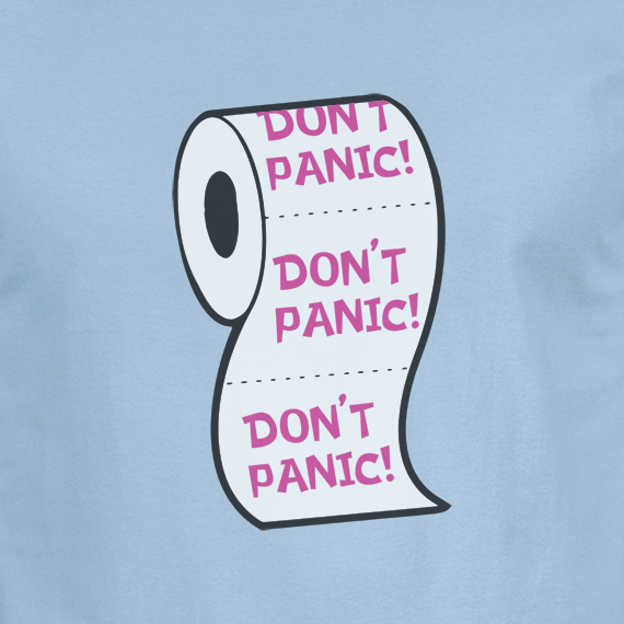 Buy Don't Panic Virus Funny Toilet Humour Graphic Blue T Shirt