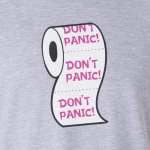 Buy Don't Panic Virus Funny Toilet Humour Graphic Grey T Shirt