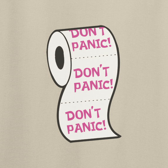 Buy Don't Panic Virus Funny Toilet Humour Graphic Sand T Shirt
