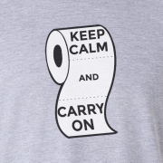 Keep Calm and Carry On Virus Toilet Funny Graphic Grey T Shirt