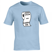 Keep Calm and Carry On Virus Toilet Funny Graphic Blue T Shirt