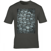 Skull Crypt Emo Goth Charcoal Grey Graphic T Shirt