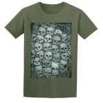 Buy Skull Crypt Emo Goth Olive Green Graphic T Shirt