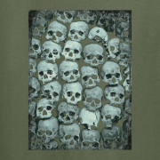 Skull Crypt Emo Goth Olive Green Graphic T Shirt