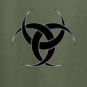 Celtic Triple Crescent Moon Tattoo Tribal Graphic Olive Green Tee Shirt
