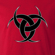 Celtic Triple Crescent Moon Tattoo Tribal Graphic Antique Red Tee Shirt