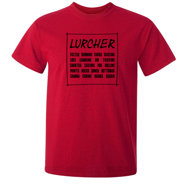 Buy Funny Lurcher Slogan Graphic Red Tee Shirt