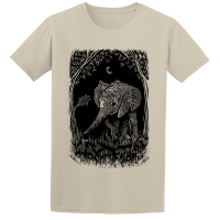 Buy Midnight Elephant Nature Graphic Line Art Sand Tee Shirt