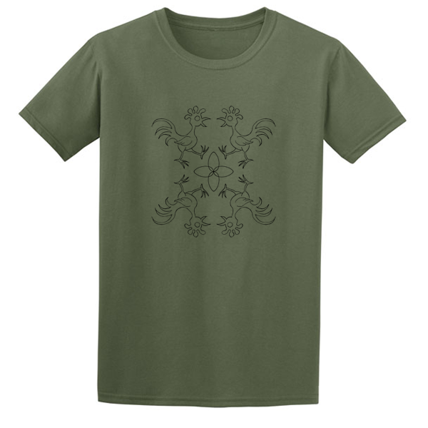 Buy Chicken Egg Portuguese Tile Olive Green Graphic T Shirt